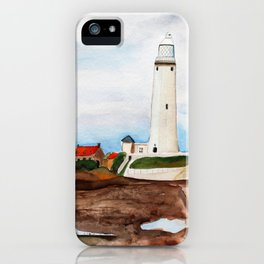 St. Mary's Lighthouse Watercolor Painting iPhone Case