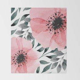 Big Watercolor Flowers Throw Blanket