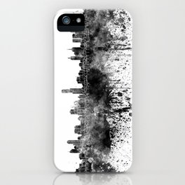 Melbourne skyline in black watercolor on white background iPhone Case
