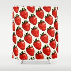 Strawberry Pattern - White Shower Curtain