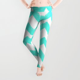 Hand-Drawn Chevron (Turquoise & White Pattern) Leggings