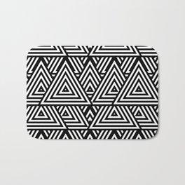 Triangle Pattern Black And White Bath Mat