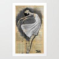 dancer Art Prints featuring dancer by LouiJoverArt