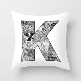 Cutout Letter K Throw Pillow