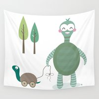 tortoise Wall Tapestries featuring Tortoise by Esther Ilustra