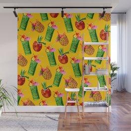 Tiki Cocktail Pattern - Yellow Wall Mural