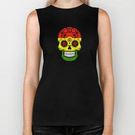 Sugar Skull with Roses and Flag of Bolivia Biker Tank