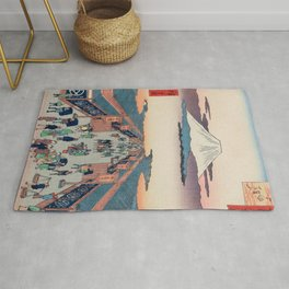 Mount Fuji above Ancient Street Ukiyo-e Japanese Art Rug