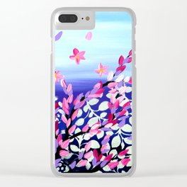 Cherry Blossoms Petals in the Wind Clear iPhone Case