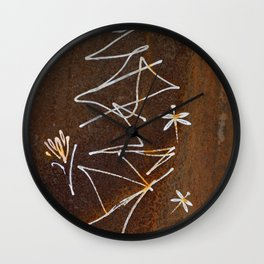 Dragonfly and Flower Graffiti on Rust Wall Clock