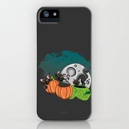 Black Cats and Jack O Lanterns for Halloween iPhone Case