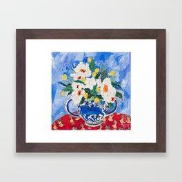 Queen of California - Giant Matilija Poppy Bouquet in Lion Vase on Blue Framed Art Print