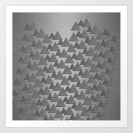 BRUSHED SILVER TRIANGLES Art Print