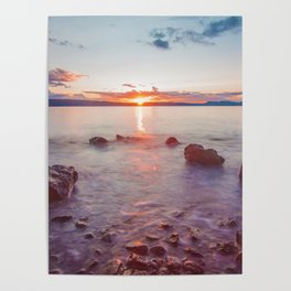 Sunset Lake Long Exposure (Color) Poster