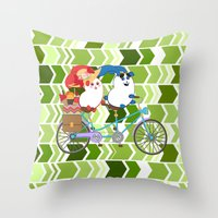 coraline Throw Pillows featuring Ernest and Coraline | Tandem biking by Hisame Artwork
