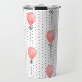 Balloons red balloon polka dots pattern watercolor valentines painted art Travel Mug