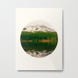 Mid Century Modern Round Circle Photo Graphic Design Reflective Snow Mountain Green Forest Metal Print