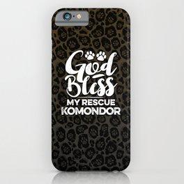 God Bless My Rescue Komondor Leopard Print Dog Paw Pattern Gift iPhone Case