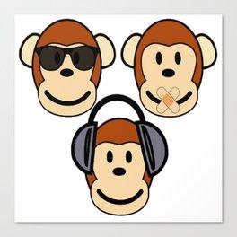 Illustration of Cartoon Three Monkeys - See, Hear, Speak No Evil Canvas Print