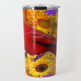 RED CARDINAL & YELLOW SUNFLOWERS PANTENE PURPLE Travel Mug