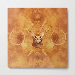 Abyssinian Cat Sacred Geometry Digital Art Metal Print
