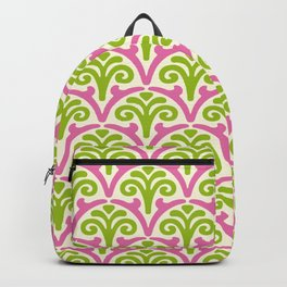 Floral Scallop Pattern Chartreuse and Pink Backpack