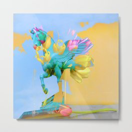 The Fly of Angelic Flowers - Digital Mixed Fine Art Metal Print