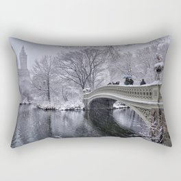Nor'easter On The Bow Bridge In Central Park Rectangular Pillow
