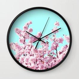 Pink Blossom Foliage  Wall Clock