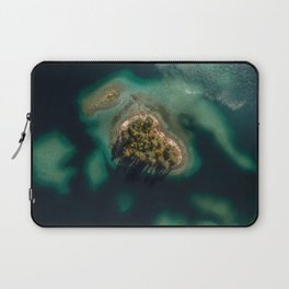 Forest island in a lake - Aerial landscape Laptop Sleeve