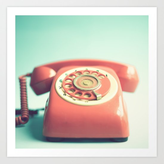 Pink Retro Telephone on Mint  Art Print