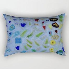 Flowers on Beach Glass 3 Rectangular Pillow