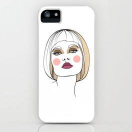 Blonde woman with makeup. Abstract face. Fashion illustration iPhone Case