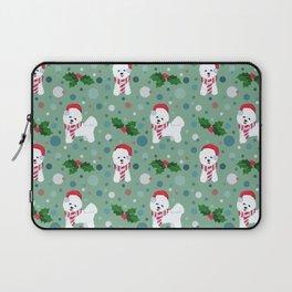 Bichon Frise dog Christmas pattern Laptop Sleeve