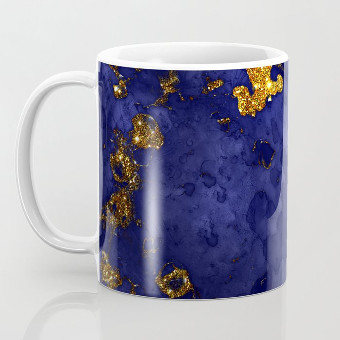 Gold Blue Indigo Malachite Marble Coffee Mug