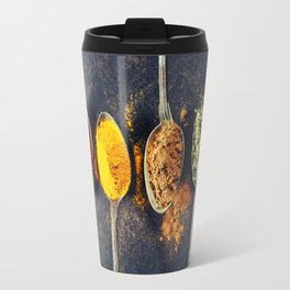 Colorful spices in metal spoons Travel Mug
