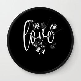 Love Flowers Butterfly Design Wall Clock
