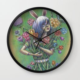 Bunny Girl III:  It's All Coming Together Wall Clock