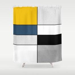 Geometric modern yellow blue gray white black pattern Shower Curtain