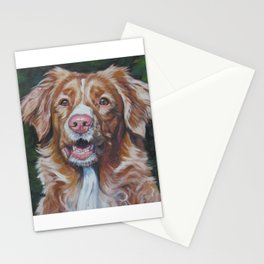 Nova Scotia Duck Tolling Retriever dog portrait from an original painting by L.A.Shepard Stationery Cards