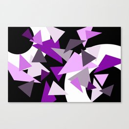 Tringels in Purple with Rings black background Canvas Print