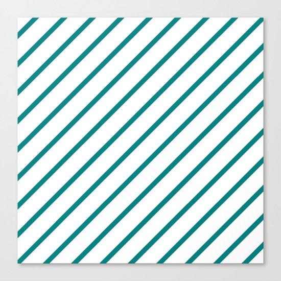 Diagonal Lines (Teal/White) Canvas Print