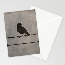 Rustic Black Bird Barbed Wire Modern Country Home Decor Art Matted Picture A476 Stationery Cards