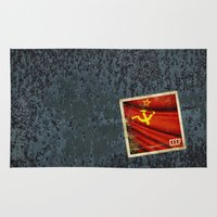 soviet Area & Throw Rugs featuring Sticker of Soviet Union (1922-1991) flag by Lulla