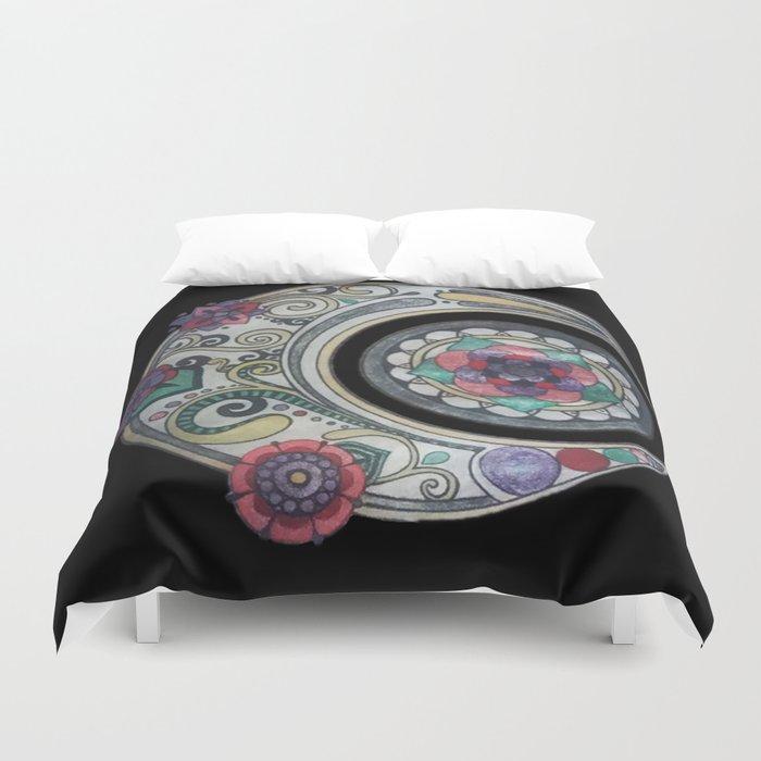 Spiral floral moon Duvet Cover