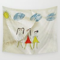sisters Wall Tapestries featuring Sisters?  by Ethna Gillespie