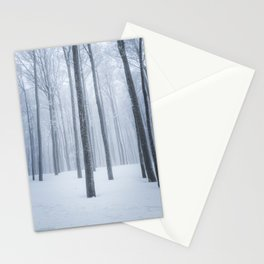Foggy frozen winter forest Stationery Cards