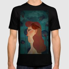 lady with bird Mens Fitted Tee MEDIUM Black