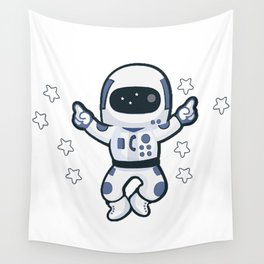 Astronaut Flying Across the Stars in Space While Dancing Wall Tapestry