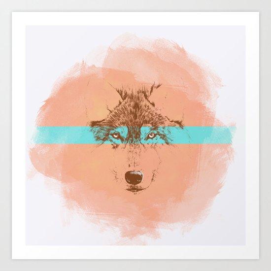 The Blue Eyed Wolf Art Print
